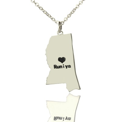 Mississippi State Shaped Personalised Necklaces With Heart  Name Silver - AMAZINGNECKLACE.COM