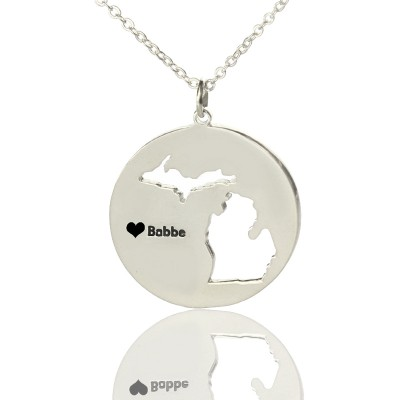 Custom Michigan Disc State Personalised Necklaces With Heart  Name Silver - AMAZINGNECKLACE.COM