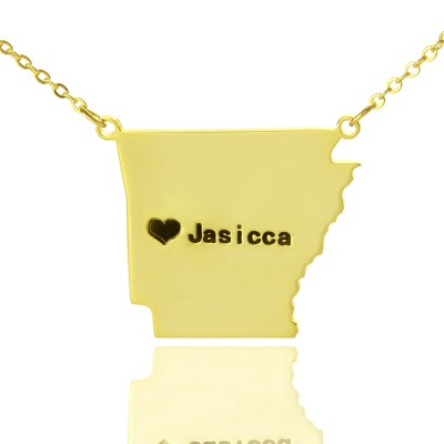 Custom AR State USA Map Personalised Necklace With Heart  Name Gold Plated - AMAZINGNECKLACE.COM