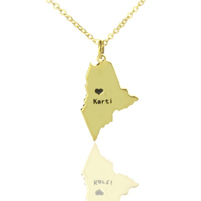 Custom Maine State Shaped Personalised Necklaces With Heart  Name Gold Plated - AMAZINGNECKLACE.COM