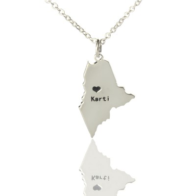 Custom Maine State Shaped Personalised Necklaces With Heart  Name Silver - AMAZINGNECKLACE.COM