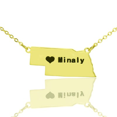 Custom Nebraska State Shaped Personalised Necklaces With Heart  Name Gold Plated - AMAZINGNECKLACE.COM