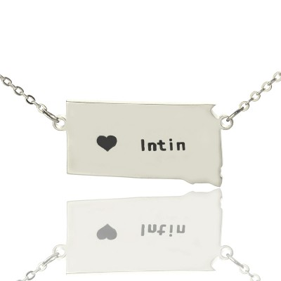 South Dakota State Shaped Personalised Necklaces With Heart  Name Silver - AMAZINGNECKLACE.COM