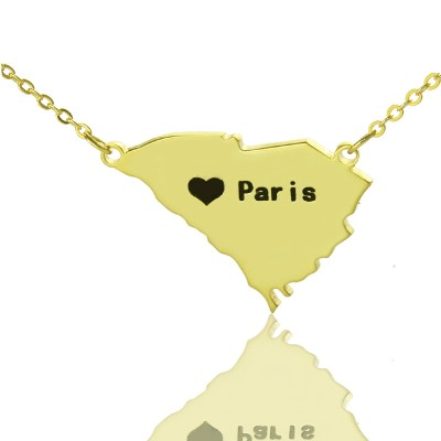 South Carolina State Shaped Personalised Necklaces With Heart  Name Gold Plated - AMAZINGNECKLACE.COM