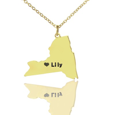 Personalised NY State Shaped Necklaces With Heart  Name Gold Plated - AMAZINGNECKLACE.COM