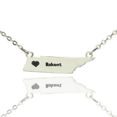 Custom Tennessee State Shaped Personalised Necklaces With Heart  Name Silver - AMAZINGNECKLACE.COM