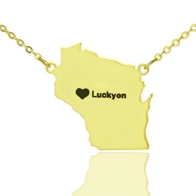 Custom Wisconsin State Shaped Personalised Necklaces With Heart  Name Gold Plated - AMAZINGNECKLACE.COM