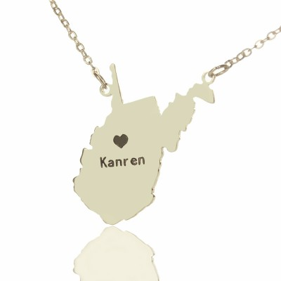 Custom West Virginia State Shaped Personalised Necklaces With Heart  Name Silver - AMAZINGNECKLACE.COM
