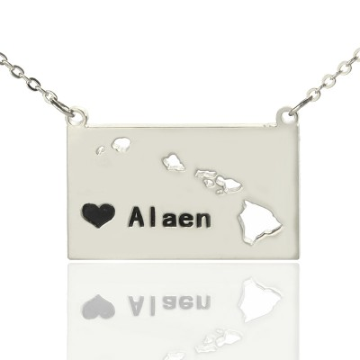 Custom Hawaii State Shaped Personalised Necklaces With Heart  Name Silver - AMAZINGNECKLACE.COM