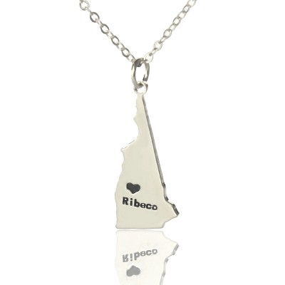 Custom New Hampshire State Shaped Personalised Necklaces With Heart  Name Silver - AMAZINGNECKLACE.COM