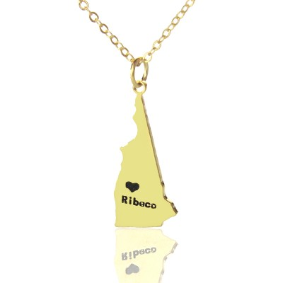 Custom New Hampshire State Shaped Personalised Necklaces With Heart  Name Gold - AMAZINGNECKLACE.COM