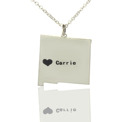 Custom New Mexico State Shaped Personalised Necklaces With Heart  Name Silver - AMAZINGNECKLACE.COM