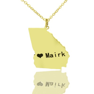 Custom Georgia State Shaped Personalised Necklaces With Heart  Name Gold Plated - AMAZINGNECKLACE.COM