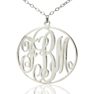 Personalised 18ct White Gold Plated Vine Font Circle Initial Monogram Necklace - AMAZINGNECKLACE.COM