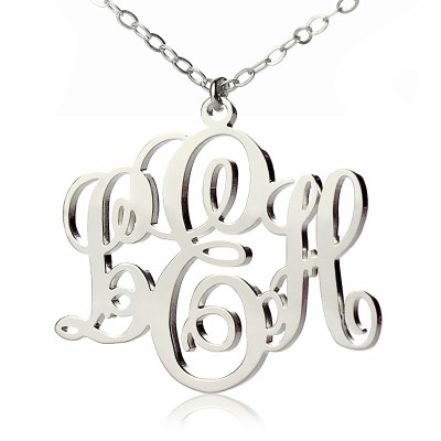 Personalised Vine Font Initial Monogram Necklace 18ct White Gold Plated - AMAZINGNECKLACE.COM