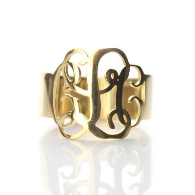 Solid Gold Personalised Monogram Ring - AMAZINGNECKLACE.COM