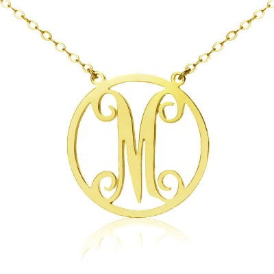 Solid Gold 18ct Single Initial Circle Monogram Personalised Necklace - AMAZINGNECKLACE.COM