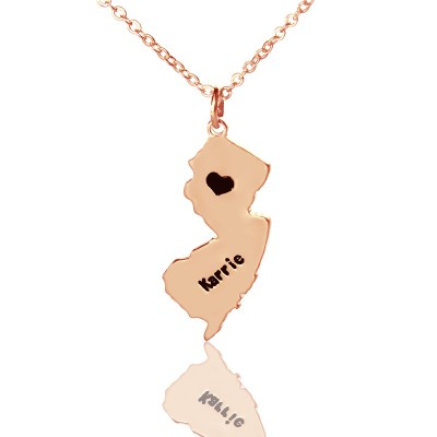 Custom New Jersey State Shaped Personalised Necklaces With Heart  Name Rose Gold - AMAZINGNECKLACE.COM