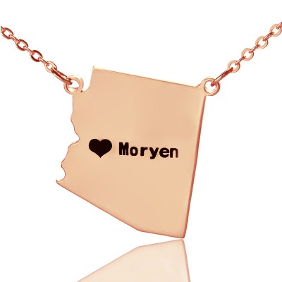 Custom Arizona State Shaped Personalised Necklaces With Heart  Name Rose Gold - AMAZINGNECKLACE.COM