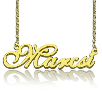 Personalised Nameplate Necklace 18ct Gold Plated - AMAZINGNECKLACE.COM