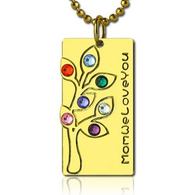 Mothers Birthstone Family Tree Personalised Necklace Sterling Silver  - AMAZINGNECKLACE.COM