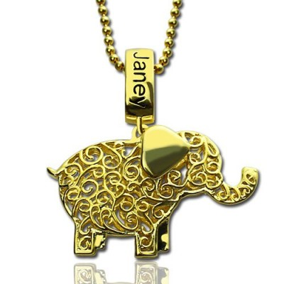 Personalised Elephant Necklace with Name  Birthstone 18ct Gold Plated  - AMAZINGNECKLACE.COM
