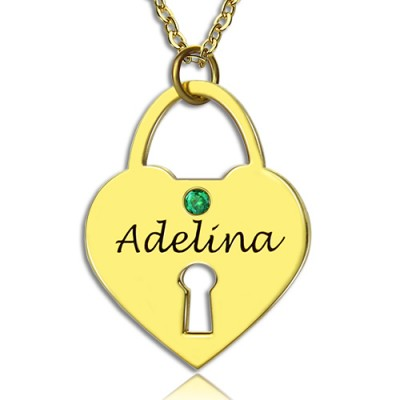 I Love You Heart Lock Keepsake Personalised Necklace With Name 18ct Gold Plated - AMAZINGNECKLACE.COM