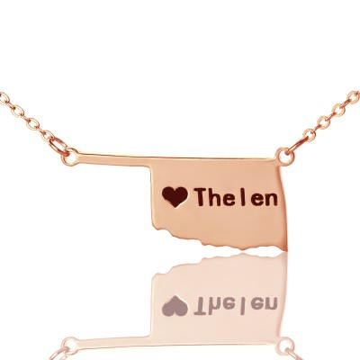 America Oklahoma State USA Map Personalised Necklace With Heart  Name Rose Gold - AMAZINGNECKLACE.COM