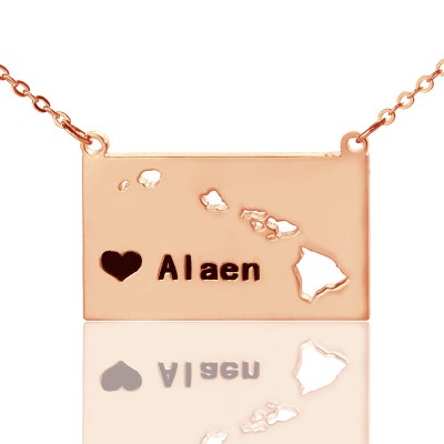 Custom Hawaii State Shaped Personalised Necklaces With Heart  Name Rose Gold - AMAZINGNECKLACE.COM