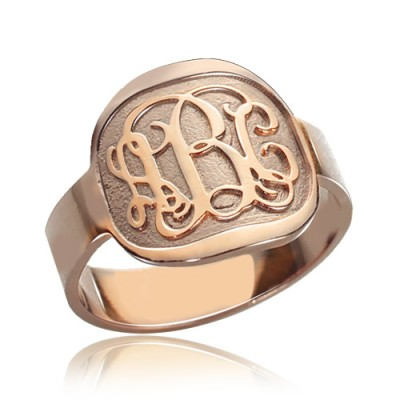Engraved Round Monogram Personalised Ring Rose Gold - AMAZINGNECKLACE.COM
