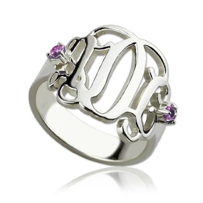 Birthstone Monogram Personalised Rings For Women Sterling Silver  - AMAZINGNECKLACE.COM