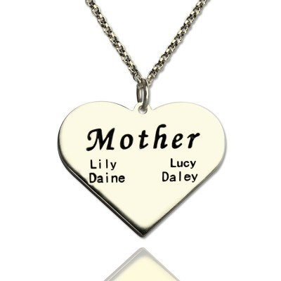 """""""Mother"""" Family Heart Personalised Necklace Sterling Silver - AMAZINGNECKLACE.COM"""