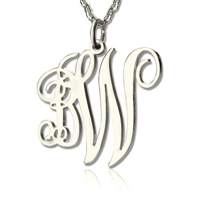 Personalised 2 Initial Monogram Necklace Sterling Silver - AMAZINGNECKLACE.COM