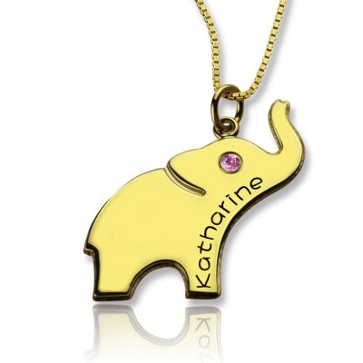 Elephant Lucky Charm Personalised Necklace Engraved Name 18ct Gold Plated - AMAZINGNECKLACE.COM