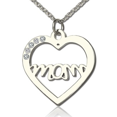Mothers Birthstone Heart Personalised Necklace Sterling Silver  - AMAZINGNECKLACE.COM