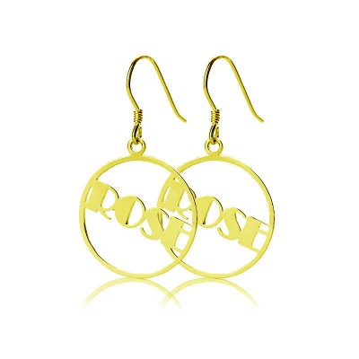 Gold Plated Silver 925 Broadway Font Circle Name Personalised Earrings - AMAZINGNECKLACE.COM