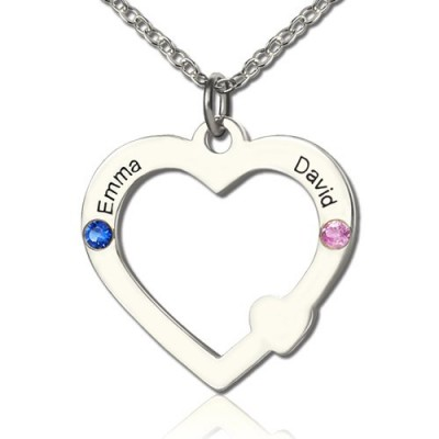 Double Name Open Heart Personalised Necklace with Birthstone Sterling Silver  - AMAZINGNECKLACE.COM