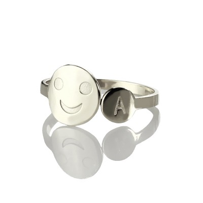 Personalised Smile Ring with Initial Sterling Silver - AMAZINGNECKLACE.COM