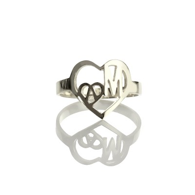 Heart in Heart Double Initials Personalised Ring Sterling Silver - AMAZINGNECKLACE.COM