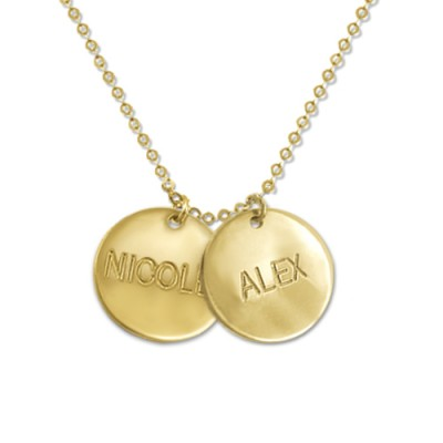 18ct Gold Mum Jewellery - Multi Disc Personalised Necklace - AMAZINGNECKLACE.COM