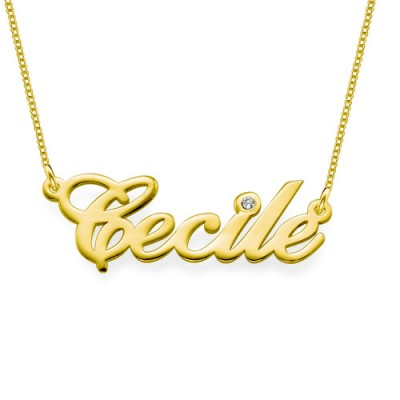 18ct Gold and Diamond Name Personalised Necklace - AMAZINGNECKLACE.COM