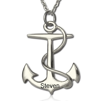 Anchor Personalised Necklace Charms Engraved Your Name Silver - AMAZINGNECKLACE.COM