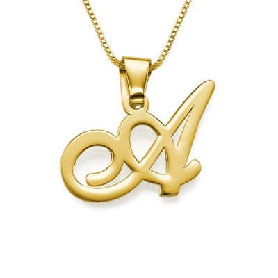 18ct Gold-Plated Initials Pendant With Any Letter - AMAZINGNECKLACE.COM