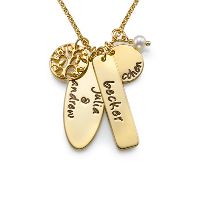 18ct Gold Plated Silver Family Tree Jewellery - AMAZINGNECKLACE.COM