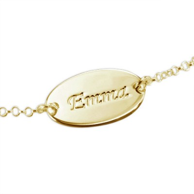 18ct Gold-Plated Silver Personalised Baby Bracelet/Anklet - AMAZINGNECKLACE.COM