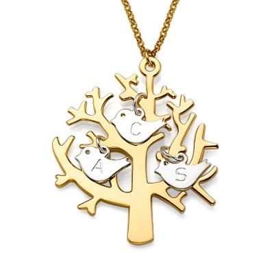 Gold Plated Tree Personalised Necklace with 0.925 Silver Initial Birds - AMAZINGNECKLACE.COM