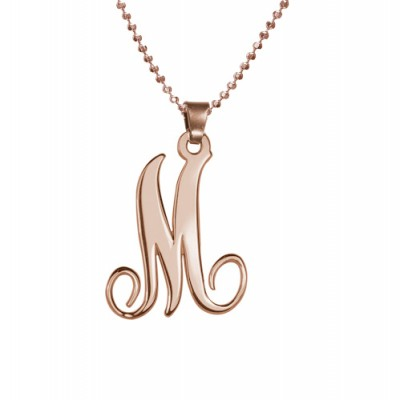 18ct Rose Gold Plated Single Initial Personalised Necklace - AMAZINGNECKLACE.COM