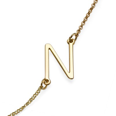18ct Gold Plated Sideways Initial Personalised Necklace - AMAZINGNECKLACE.COM
