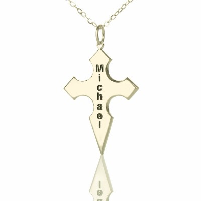 Silver Conical Shape Cross Name Personalised Necklace - AMAZINGNECKLACE.COM