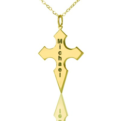 Gold Plated 925 Silver Conical Shape Cross Name Personalised Necklace - AMAZINGNECKLACE.COM